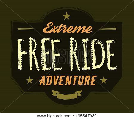 Off-road logo. Extreme competition emblem. Off-roading suv adventure and car club elements. Beautiful vector illustration with unique textured lettering isolated on a dark green background.