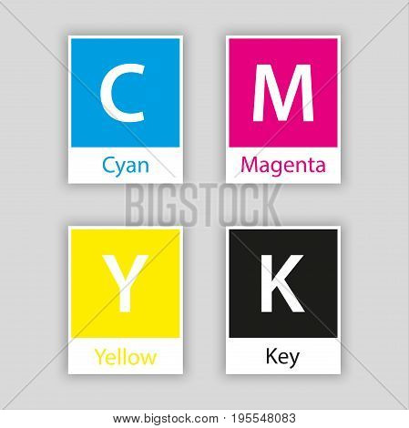 Separate swatch in cmyk color with color name isolated on white background cyan magenta yellow black key