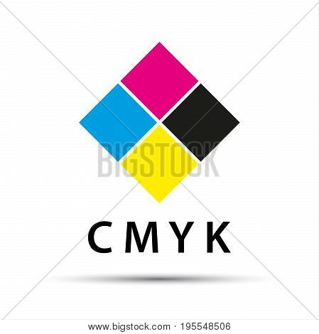 Abstract logo in the shape of a diamond with cmyk color isolated on white background