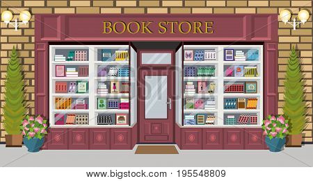 Bookstore facade design with bright books on shelves. Exterior building architectural design with spruces, flowerpots and lanterns. Flat style vector illustration.
