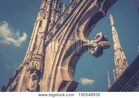 Decoration of the Milan Cathedral roof (Duomo di Milano) in Milan, Italy. Milan Duomo is the largest church in Italy and the fifth largest in the world.