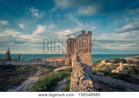 Ancient Genoese fortress in the city of Feodosia, Crimea, Russia. Feodosia is one of the cities founded in Crimea even in the times of Antiquity.