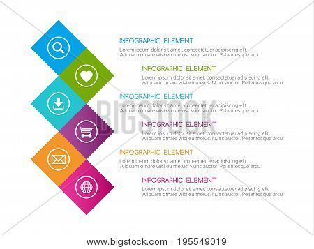 Flat colorful abstract infographic six options with icons minimalistic design for your project