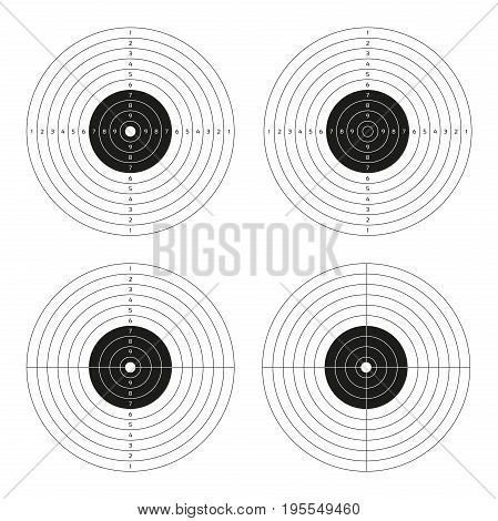 Vector set of shooting targets blank pistol template for printing isolated on white background