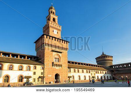 Milan, Italy - May 22, 2017: Inside the Sforza Castel (Castello Sforzesco). This castle was built in the 15th century by Francesco Sforza Duke of Milan.