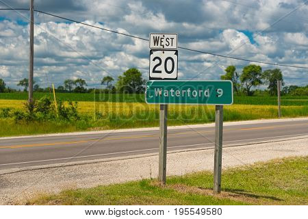 Waterford 9 Sign On A Road Of Wisconsin