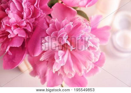 Beautiful bouquet with fragrant peonies, closeup