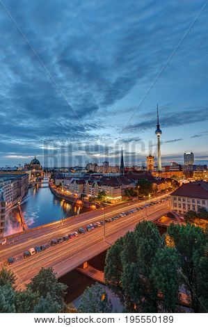 Downtown Berlin with the famous Television Tower at dusk