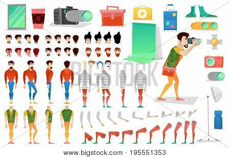 Photographer Character Creation Constructor. Man in Different Poses. Male Person with Faces, Arms, Legs, Hairstyles. Vector illustration