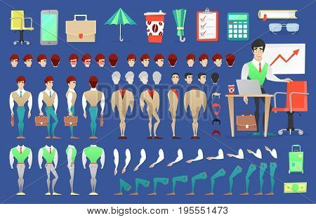 Businessman Character Creation Constructor. Man in Different Poses. Male Person with Faces, Arms, Legs, Hairstyles. Vector illustration