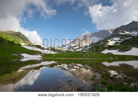 view mountain landscape with lake in nature park outdoor