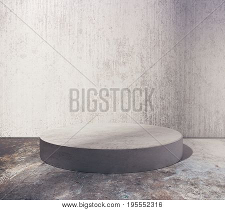 Empty round podium in abstract grungy concrete room. Product placement concept. Mock up 3D Rendering