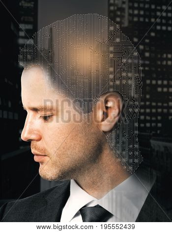 Digital labyrinth headed businessman on night city background. Memory concept. Double exposure