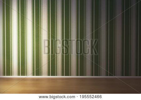 Front view of unfurnished living room interior with empty striped background and wooden floor. Gallery exhibition concept. Mock up 3D Rendering