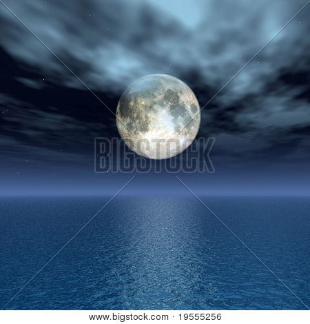 The full moon at quiet night - digital artwork