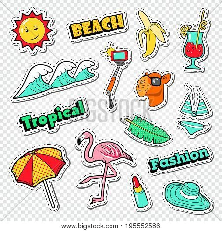 Beach Vacation Stickers Set. Tropical Holidays Doodle with Flamingo, Bikini and Cocktail. Vector illustration