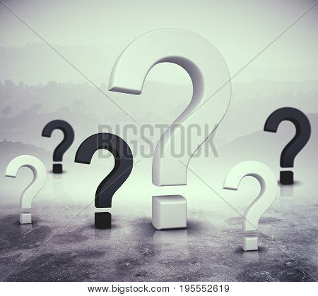 Question marks on abstract foggy gray background. FAQ concept. 3D Rendering