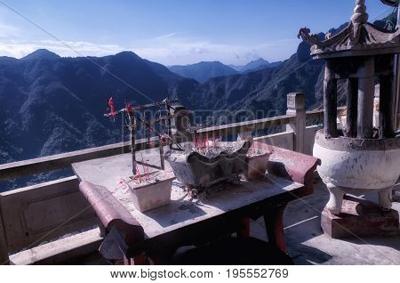 An incense burner at a Taoist Shrine in the fangdong scenic area in Yandangshan within Zhejiang province Wenzhou China.
