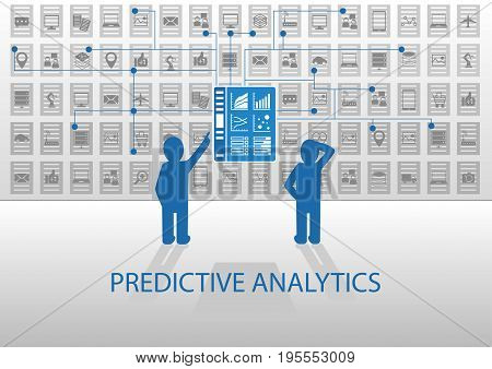 Two analysts analyzing predictive analytics dashboard with icons