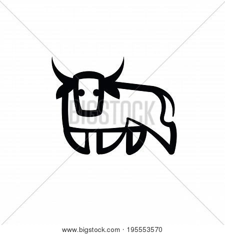 Linear stylized drawing of stand bull or cow - for icon or sign template