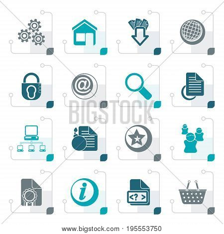 Stylized Website and internet icons - vector icon set