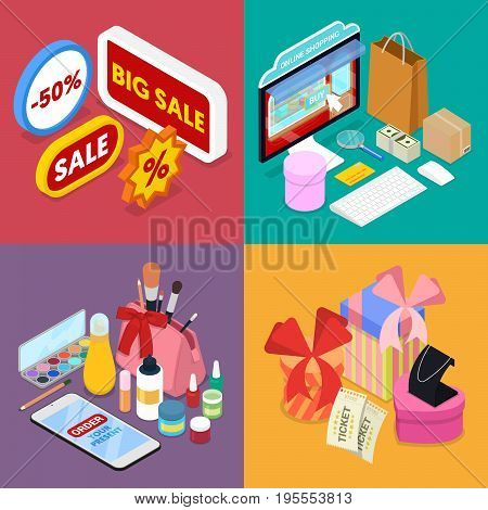Isometric Online Shopping. Mobile Payment. Internet Store. Electronic Business. Vector flat 3d illustration