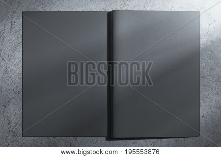 Back view of open gray hardcover copybook on concrete background. Mock up 3D Rendering