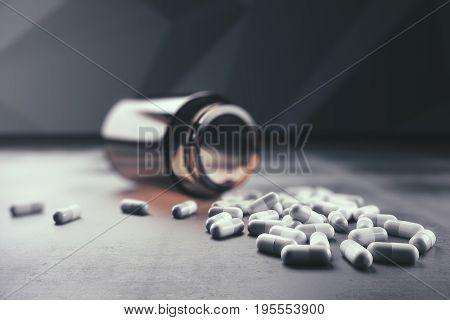 Fallen bottle and scattered pills on concrete background. Prescription concept. 3D Rendering