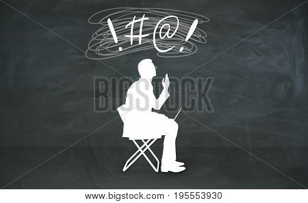 Abstract cursing man silhouette with bleep writing over head in chalkboard room. 3D Rendering