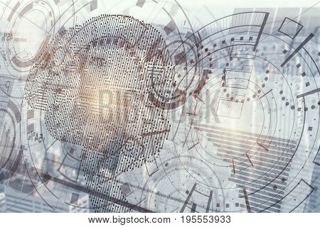 Abstract digital business hologram with cyber brain. Artificial mind concept. 3D Rendering