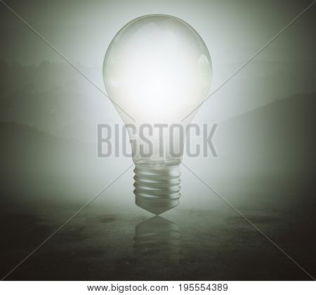 Glowing lamp on blurr gray background. Innovation concept. 3D Rendering