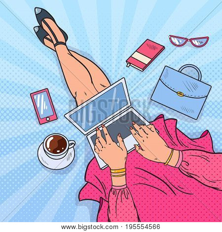 Pop Art Woman Blogger Working on Laptop. Modern Lifestyle. Vector illustration