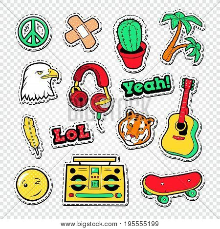 Teen Style Stickers, Badges and Patches for Fashion Prints. Vector illustration