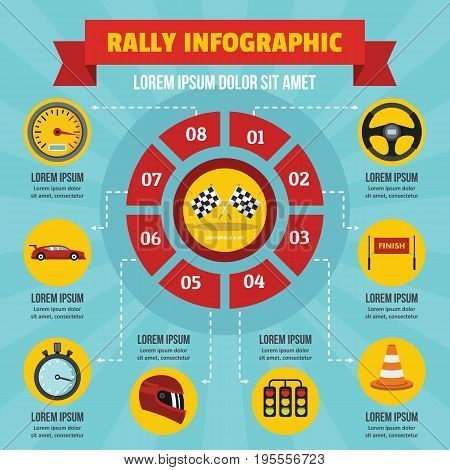 Rally infographic banner concept. Flat illustration of rally infographic vector poster concept for web