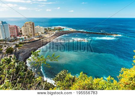 Aerial view to hotel zone and sea Puerto de la Cruz, Tenerife