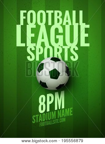 Soccer league flyer design template. Soccer poster invitation football sports.