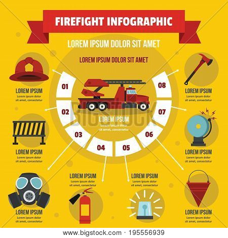Firefight infographic banner concept. Flat illustration of firefight infographic vector poster concept for web