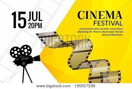 Cinema festival poster template. Vector camcorder and line videotape illustration. Movie festival art background.
