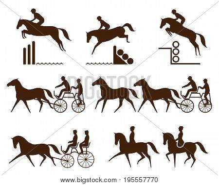 Set of equestrian logo - eventing, driving, para dressage