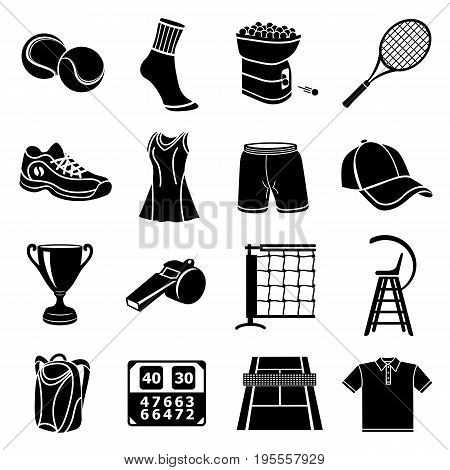 Tennis icons set. Simple illustration of 16 tennis icons set vector icons for web