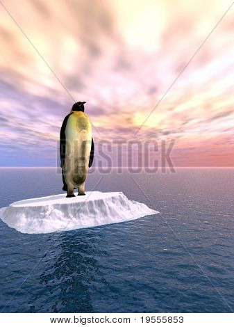 Antarctic penguin on ice - 3d scene
