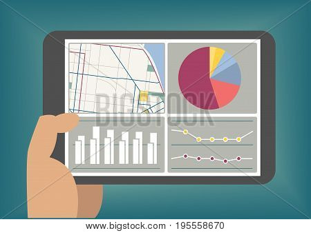 Big data and analytics dashboard displayed on tablet screen as vector illustration