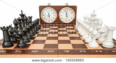 Checkerboard with figures and chess clock 3D rendering isolated on white background