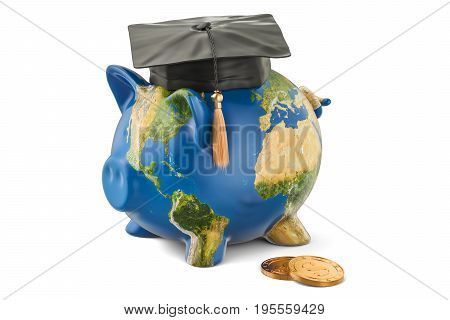 Savings for education concept. Piggy bank with map of Earth 3D rendering isolated on white background