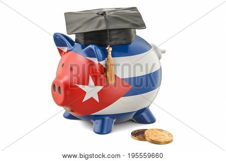 Savings for education in Cuba concept 3D rendering isolated on white background