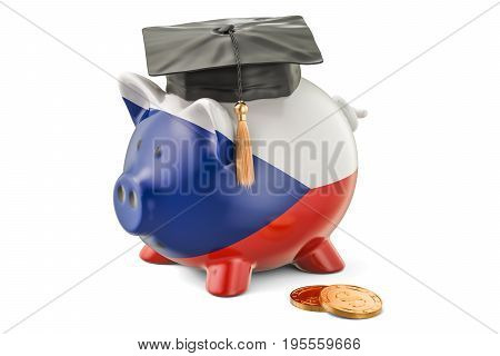 Savings for education in Czech Republic concept 3D rendering isolated on white background