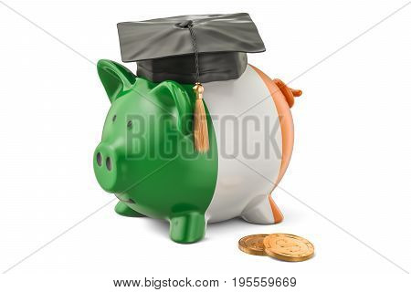 Savings for education in Ireland concept 3D rendering isolated on white background