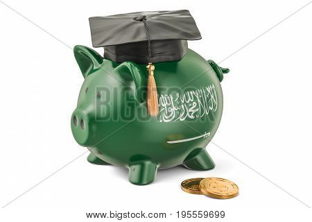 Savings for education in Saudi Arabia concept 3D rendering isolated on white background