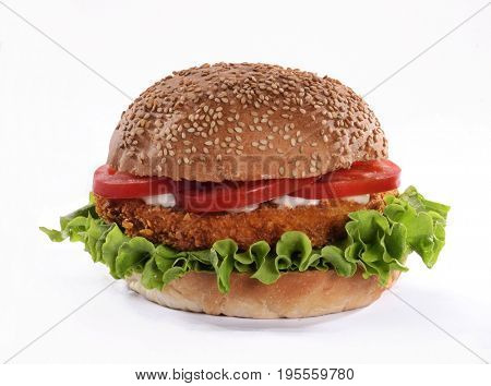 Chicken burger isolated on white background.