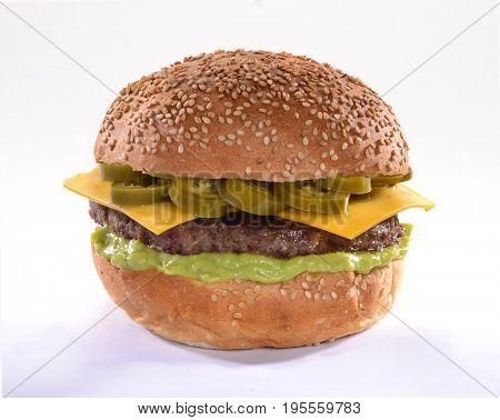 jalapeno cheese burger on white background.